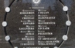 Memorial plaque for the victims of the Ecole Polytechnique Tragedy