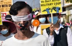 Nyaunghswe, Myanmar - 17 Feb 2021: Myanmar people took to the streets to protest against the military coup