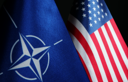 image US and NATO flags
