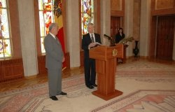Picture of William H. Hill (right) with Vladimir Voronin, taken by the Moldovan Presidential Administration, June 2006. Hill was receiving an award at the end of his term as OSCE Head of Mission
