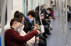 People wearing masks on Shanghai subway