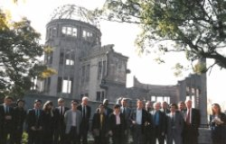 Members of the Programme for Promoting Nuclear Nonproliferation (PPNN) at the A-Bomb Dome, Hiroshima Peace Memorial Park, Japan, 1992.