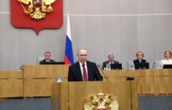 Russian President Vladimir Putin speaking in front of a plenary session of the Duma, March 2020