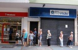 Line for bank supermarket in Rio de Janeiro Brazil
