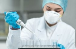 Young female scientist working in the laboratory