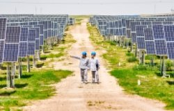Two Chinese men walking through a solar panel farm