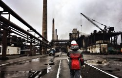 Avdiivka, Donetsk Oblast / Ukraine - February 20 2017: The workers of Avdiivka Coke and Chemical Plant are on duty. The plant in Donbass is the largest coke producer in Ukraine and Europe.