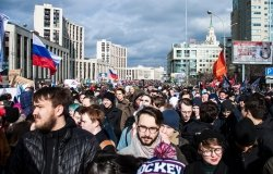 Moscow, Russia, - 10 March 2019. Rally demanding internet freedom in Russia.
