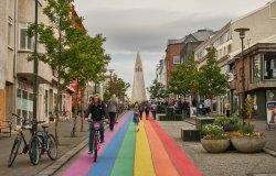 Reykjavik / Iceland - 08/22/18 : Skólavörðustígur street. Day after Pride festival 2018