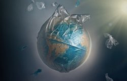 world in plastic bag
