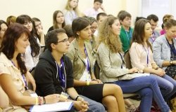 Boys and girls at Global Youth Voice - AIESEC International Congress 2012 in MGIMO, on August 18, 2012 in Moscow, Russia.