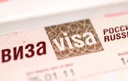 A close-up picture of a Russian visa
