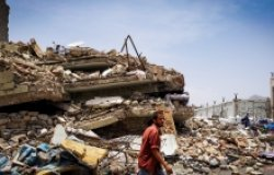 Massive destruction caused by the war that has damaged most of the cities and neighborhoods of Taiz City, Yemen