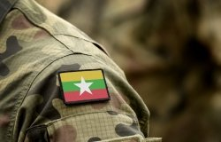 Flag of Myanmar and also known as Burma on military uniform