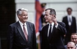 Washington DC, USA, June 16, 1992 United States President George H.W. Bush with Russian President Boris Yeltsin during official state visit to the White House.