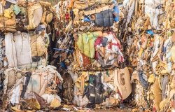 Bales of textile waste