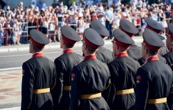 Tiraspol, Transnistria - September 2, 2020: military parade dedicated to the 30th anniversary of independence, soldiers in full dress uniforms, Russian text on Chevron - armed forces of Transnistria