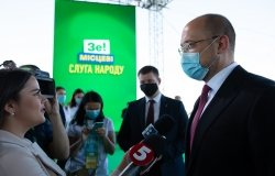 Ukrainian Prime Minister Denys Shmygal wearing a protective mask speaks to media before a congress of Servant of the People political party in Kyiv, Ukraine. August 31, 2020.