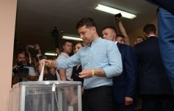 Kyiv, Ukraine - 21 July 2019: The President of Ukraine Volodymyr Zelenskiy voting in parliamentary election