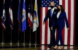 US Vice President John Biden and Kamala Harris arrive at their campaign event. Washington DC, USA. 2 Of November 2020