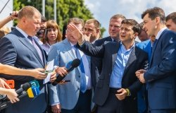DNIPRO, UKRAINE – July 12, 2019. Arrival of the President of Ukraine Vladimir Zelensky to Dnipro.