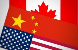 Flags of Canada, China, and the United States