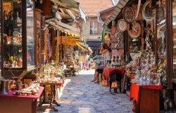 Street with shops in Sarajevo.