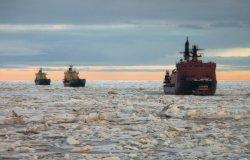 Russian icebreakers sail in the North Sea.