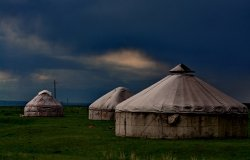A Kazakh yurt of nomad family at grassland in Xinjiang, China.