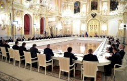 Image: Vladimir Putin meeting with Russian business leaders.